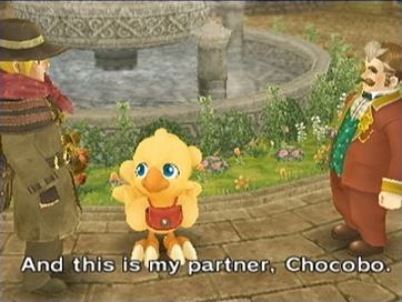 Cid, Chocobo, le maire / Cid, Chocobo, the mayor