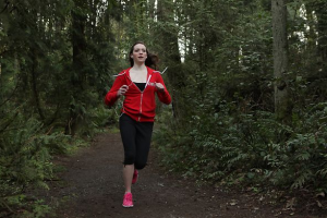 Red running hoodie