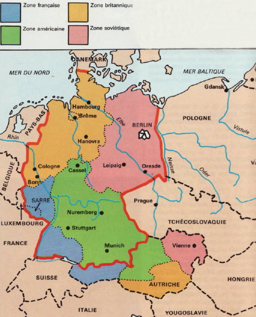 Carte Occupation Allemagne 1945.Occupation De L Allemagne Apres La Seconde Guerre Mondiale